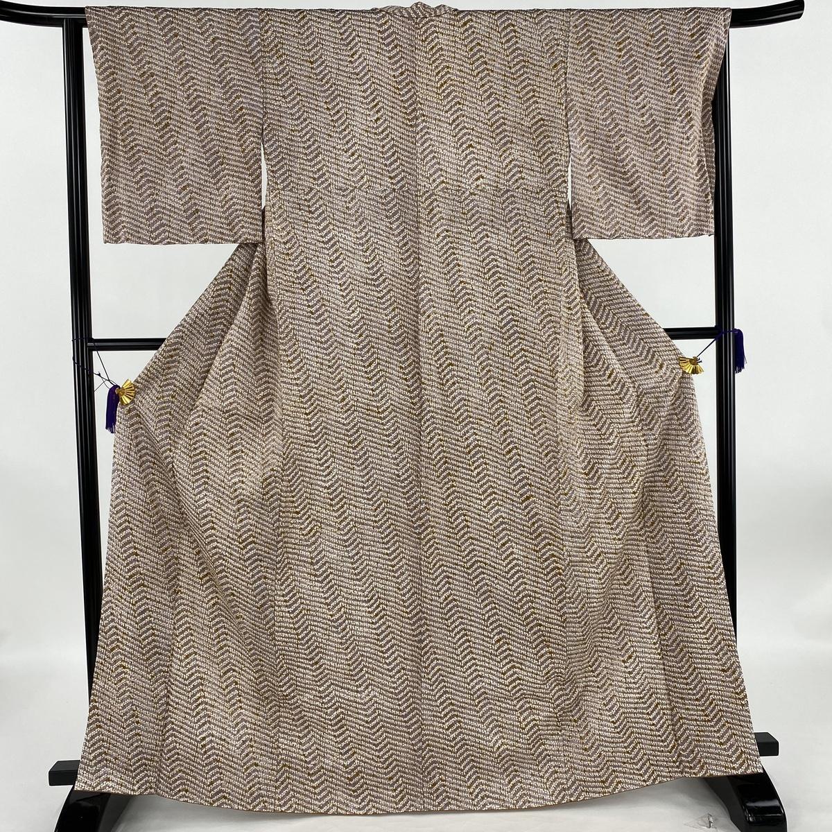 小紋 美品 秀品 斜縞 絞り 薄紫 袷 身丈165cm 裄丈64cm M 正絹 【中古】