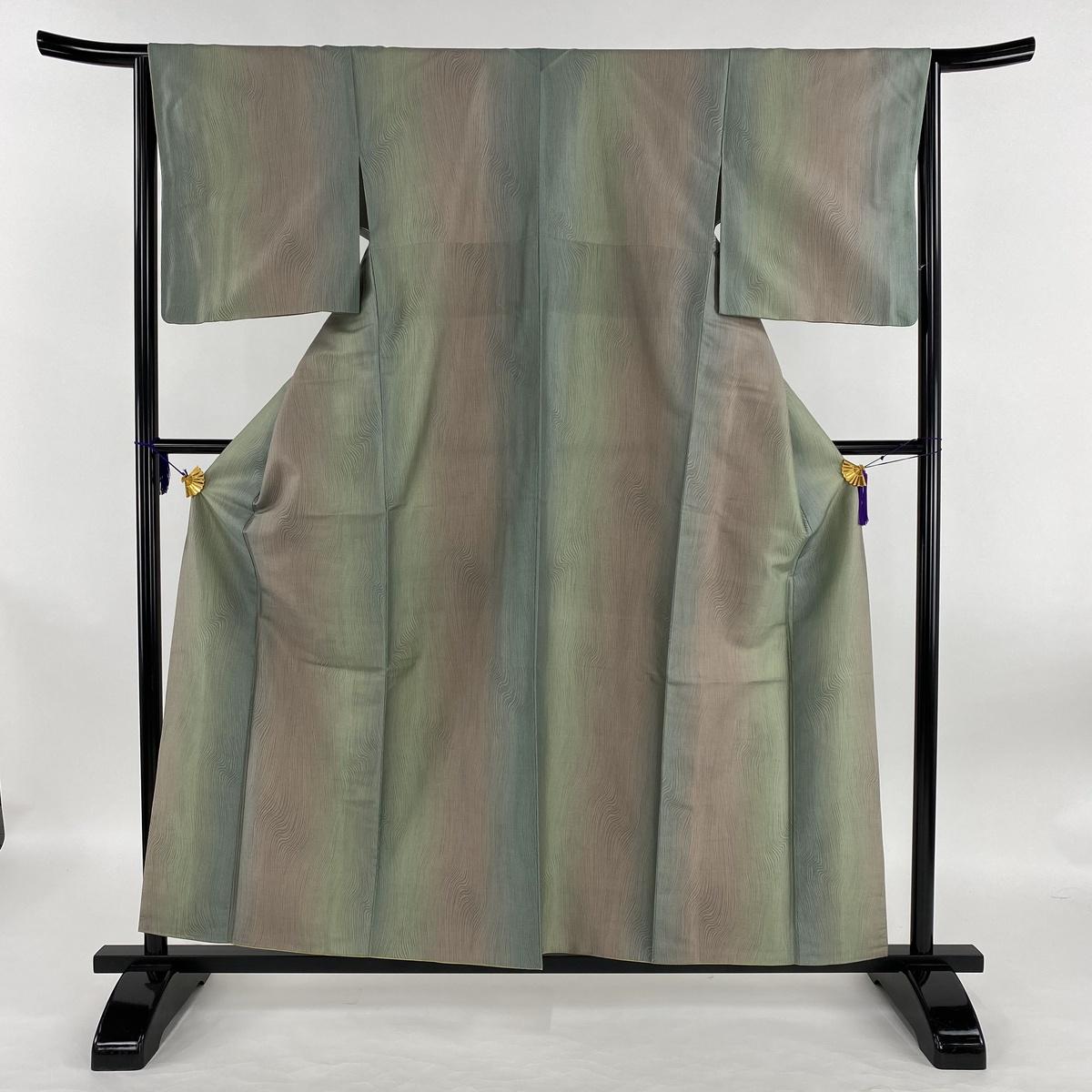 小紋 美品 名品 紬地 幾何学 木目風 縦ぼかし 薄緑 袷 身丈157.5cm 裄丈65cm M 正絹 【中古】