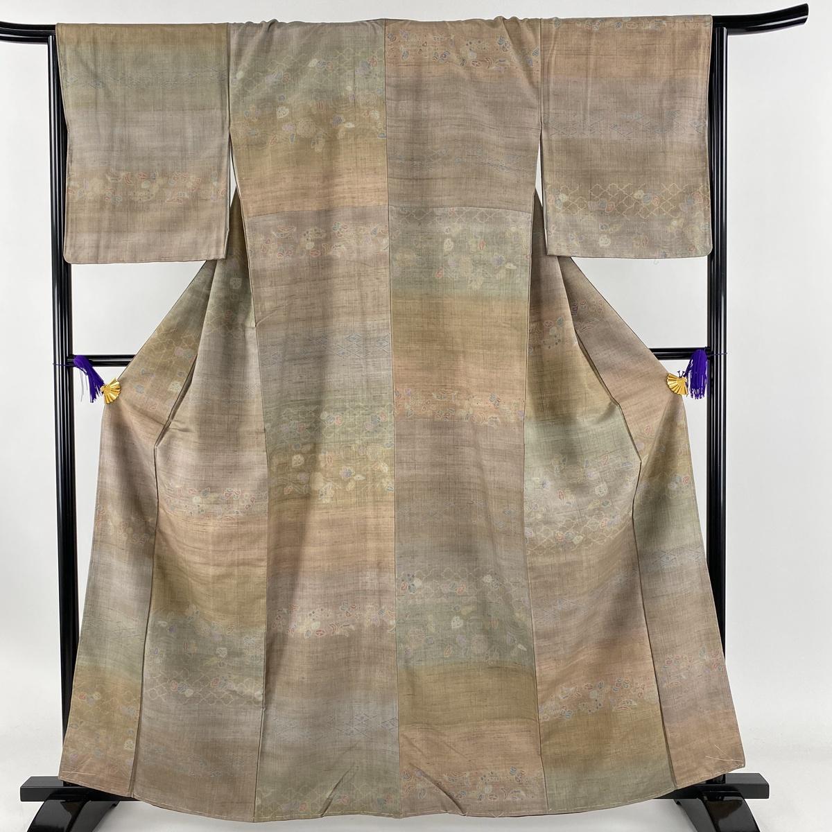 小紋 美品 秀品 草花 横段 茶緑色 袷 身丈161.5cm 裄丈66cm M 正絹 【中古】