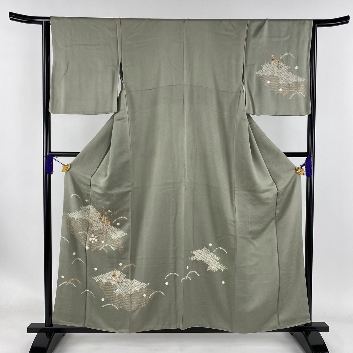 訪問着 秀品 雪輪 草花 部分絞り 刺繍 灰緑 袷 身丈156cm 裄丈64.5cm M 正絹 【中古】