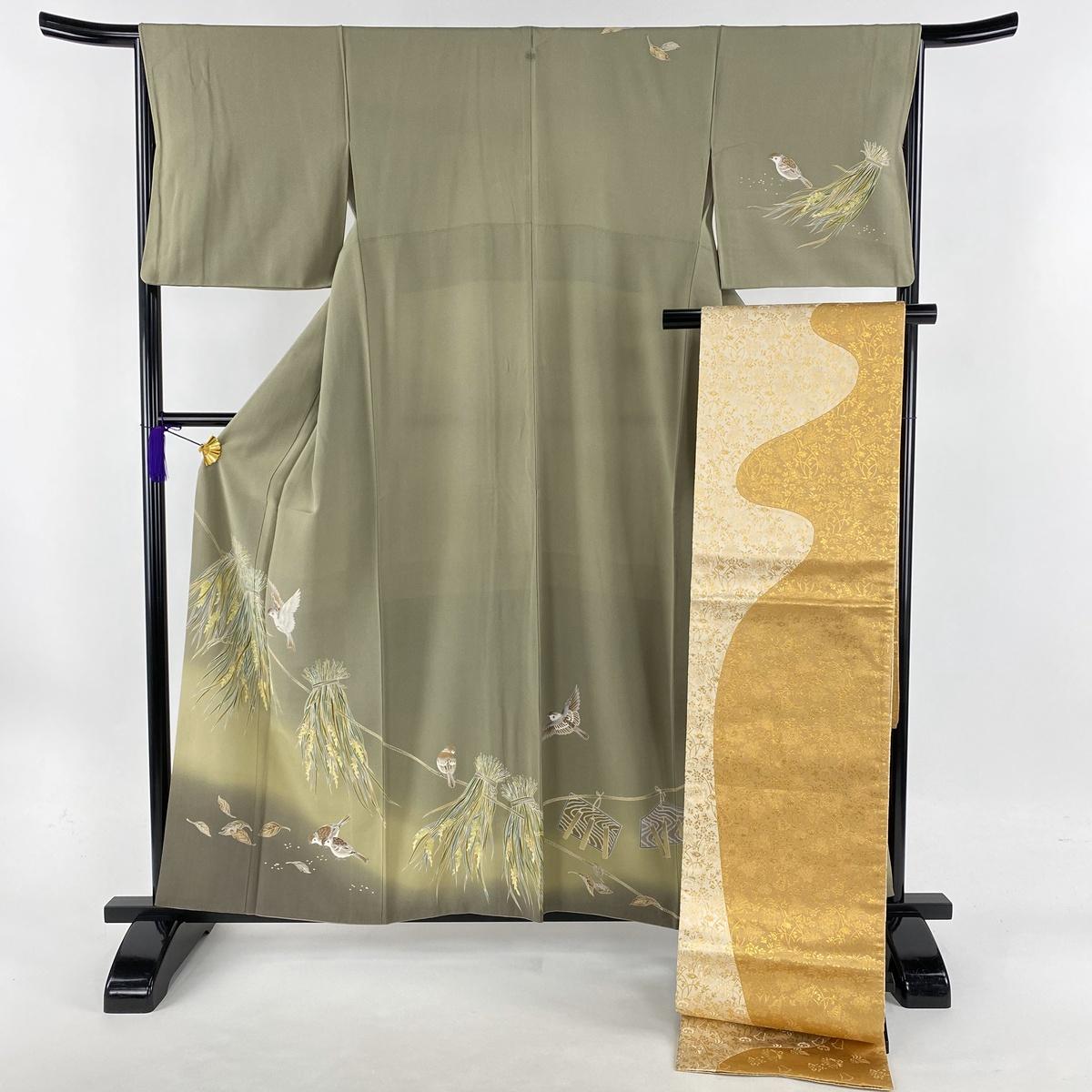 訪問着 美品 秀品 落款あり 袋帯セット 一つ紋 雀 稲 ぼかし 灰緑 袷 身丈158.5cm 裄丈66.5cm M 正絹 【中古】