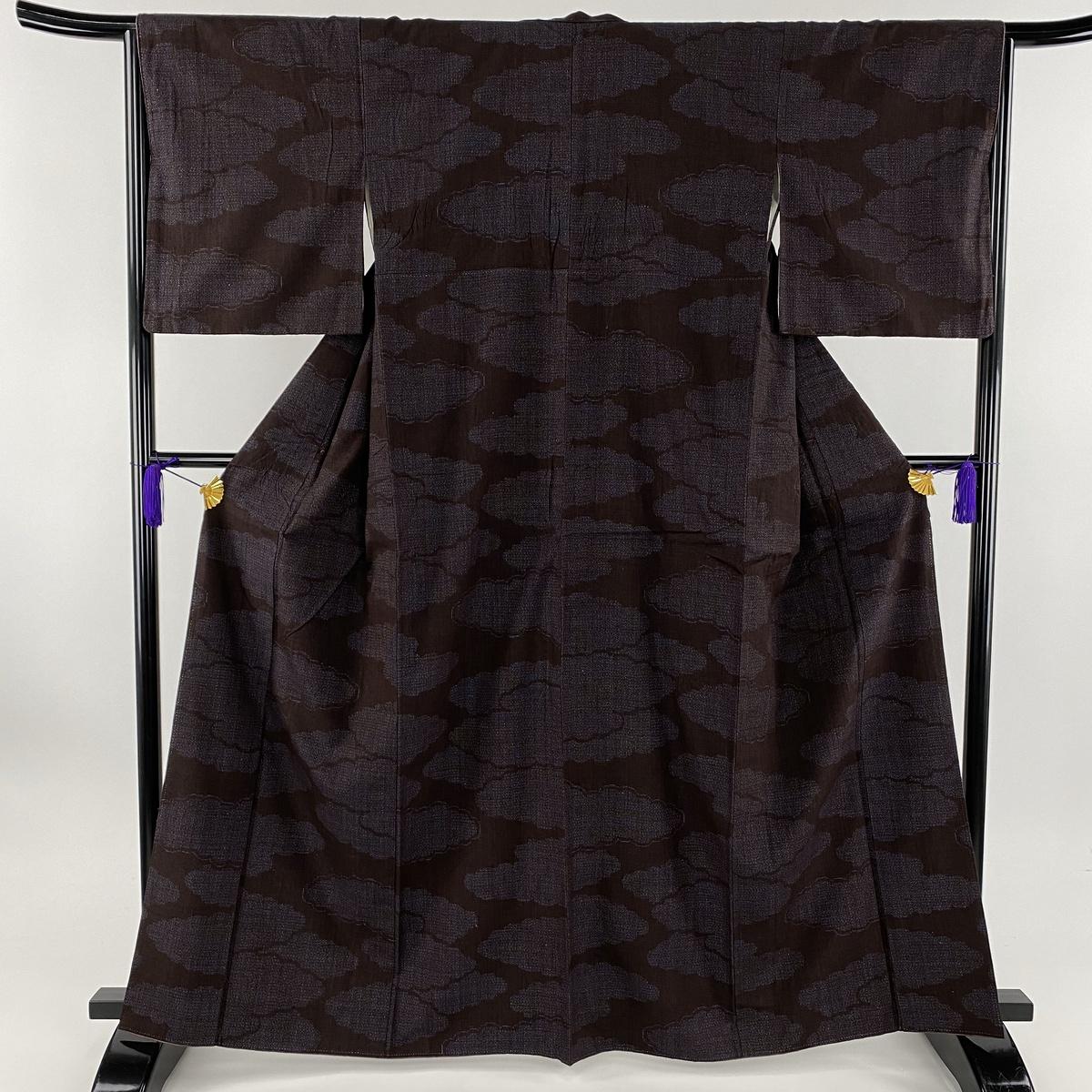 紬 美品 名品 雲 亀甲絣 濃紫 袷 身丈164cm 裄丈65cm M 正絹 【中古】