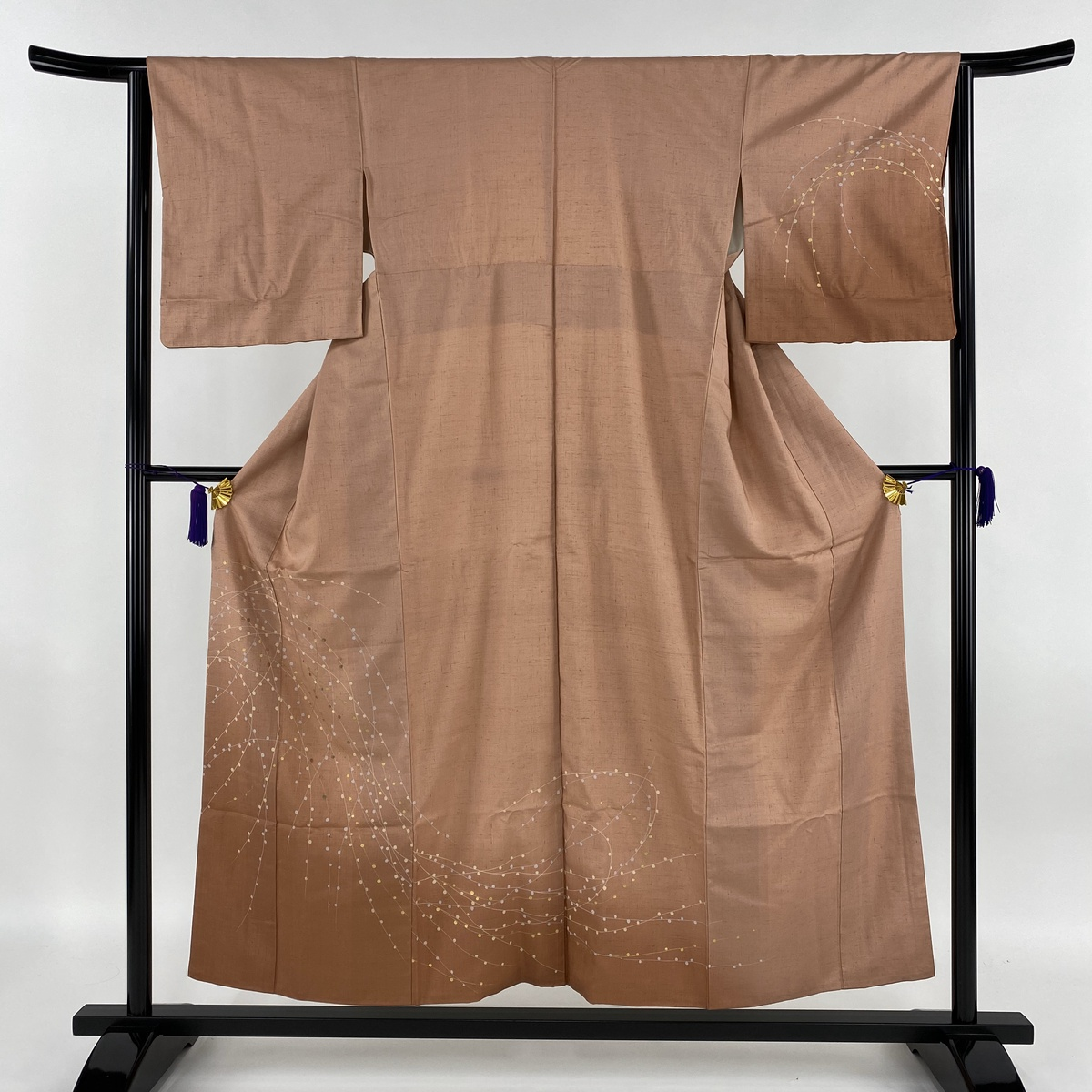 訪問着 秀品 紬地 柳 金彩 刺繍 茜色 袷 身丈155cm 裄丈63.5cm S 正絹 【中古】