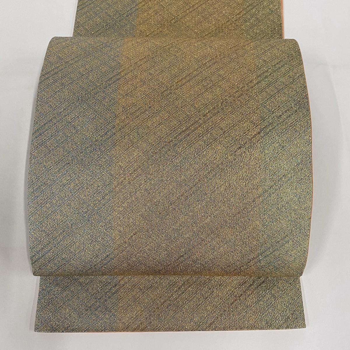【在庫一掃】 袋帯 美品 秀品 縞 格子 金糸 金色 全通 正絹 :バイセルオンライン 店