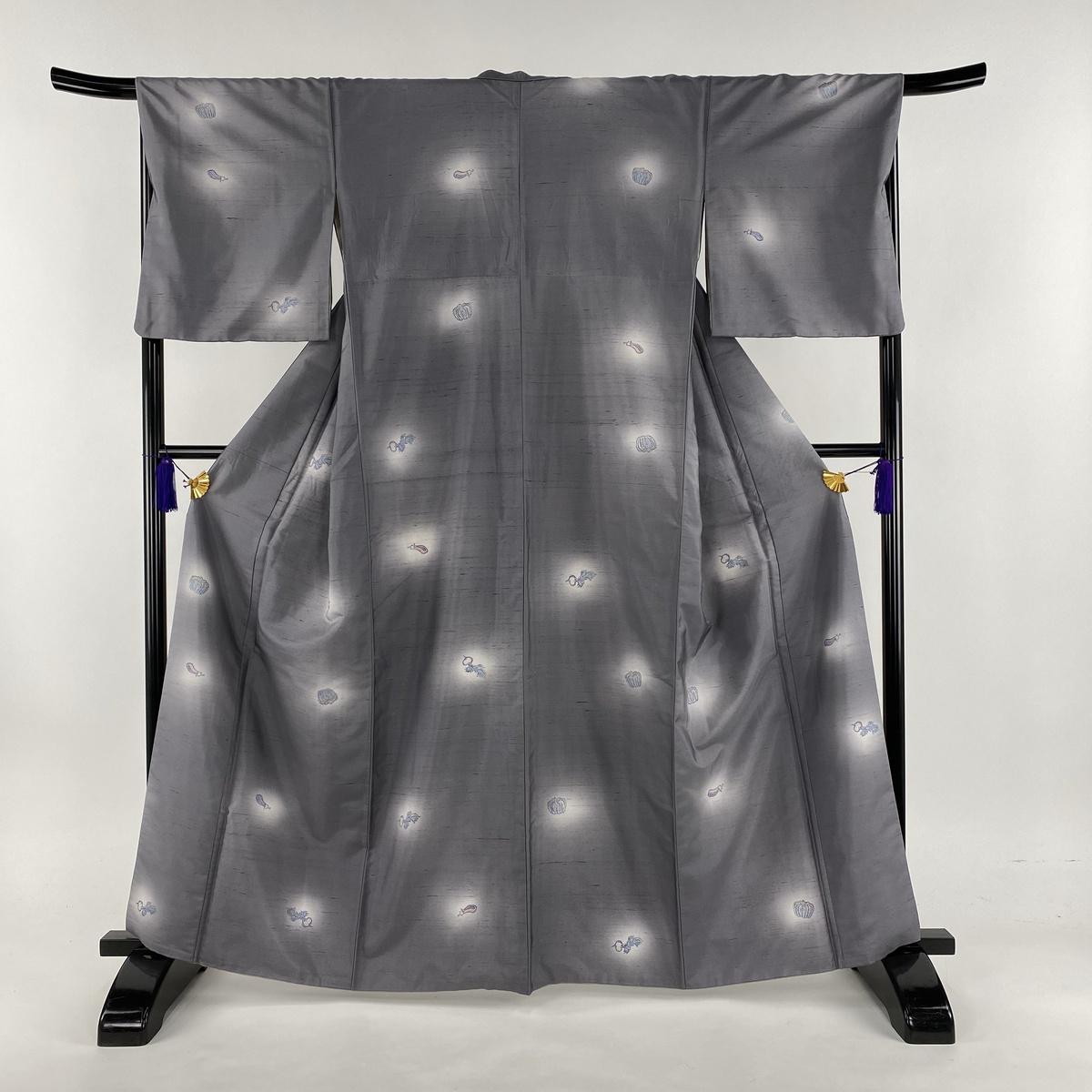 小紋 名品 紬地 野菜 灰紫 袷 身丈163cm 裄丈68.5cm L 正絹 【中古】