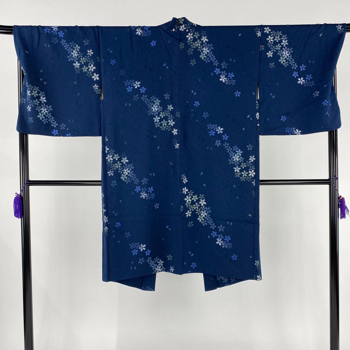 羽織 美品 逸品 桜 ぼかし 藍色 身丈108cm 裄丈69.5cm L 正絹 【中古】
