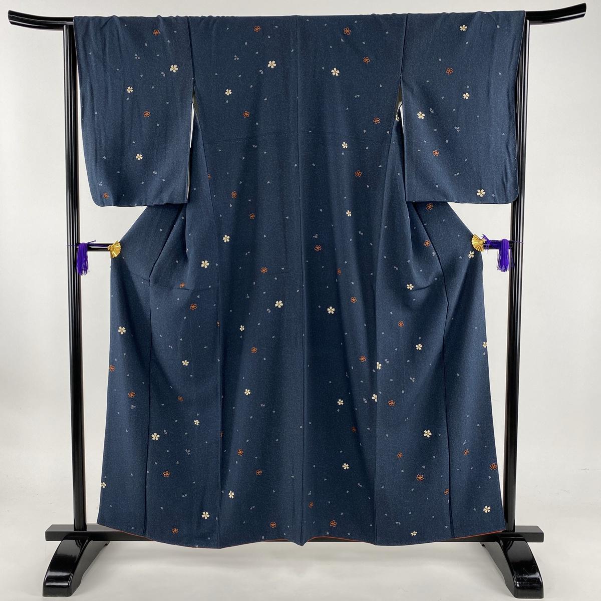 小紋 美品 秀品 桜 桜の花びら 金彩 藍色 袷 身丈159cm 裄丈64.5cm M 正絹 【中古】