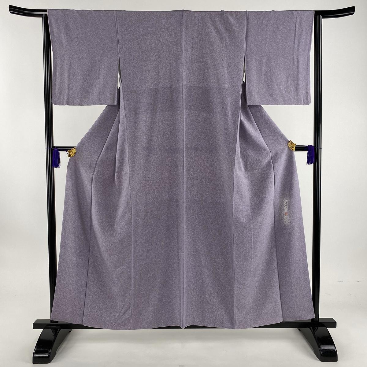 小紋 美品 秀品 落款あり 一つ紋 たたき染め風 紫 袷 身丈158cm 裄丈64cm M 正絹 【中古】