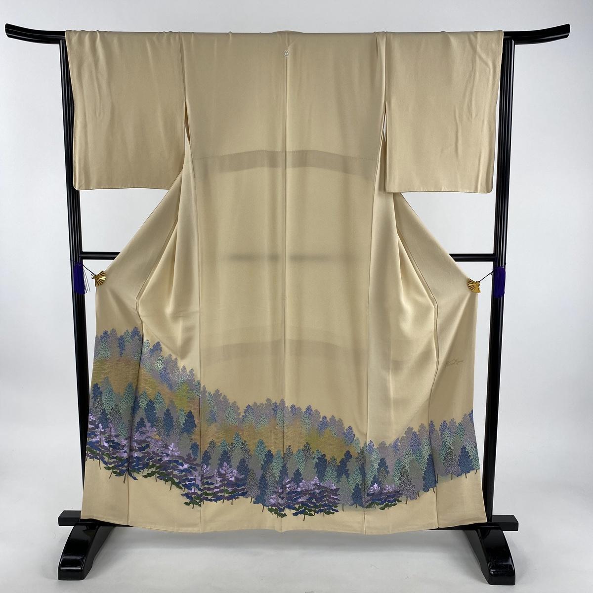色留袖 名品 落款あり 一つ紋 樹木 ベージュ 袷 身丈160cm 裄丈66cm M 正絹 【中古】