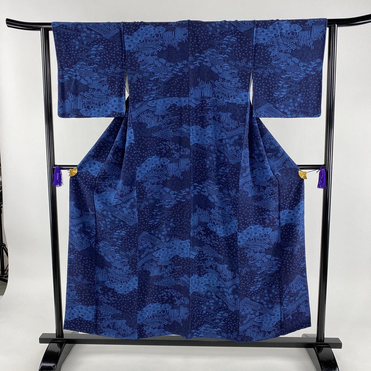 小紋 美品 秀品 風景 建物 藍色 袷 身丈154cm 裄丈62cm S 正絹 【中古】