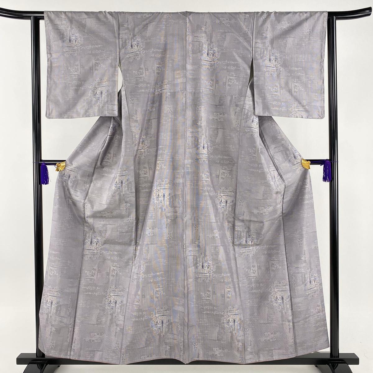 紬 美品 秀品 幾何学模様 薄紫 袷 身丈159cm 裄丈62cm S 正絹 【中古】