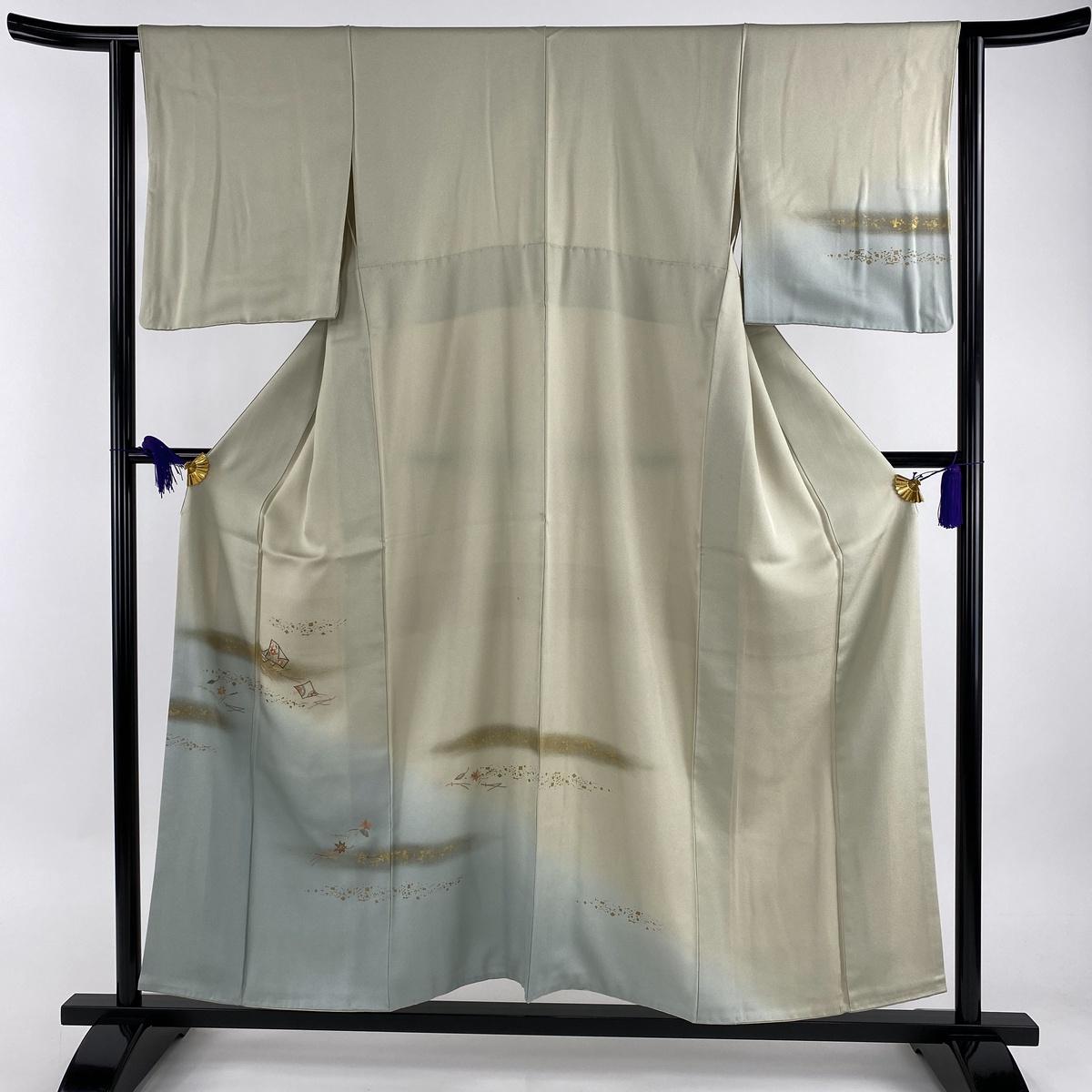 訪問着 秀品 色紙 吹き寄せ 部分刺繍 金糸 薄緑 袷 身丈154.5cm 裄丈62cm S 正絹 【中古】