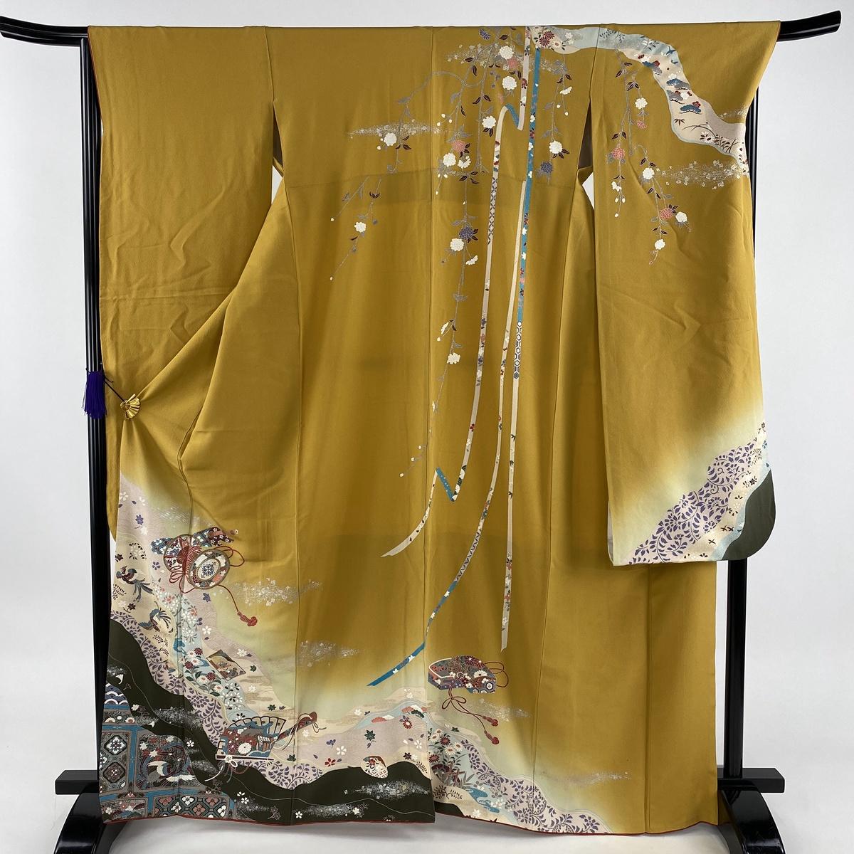 振袖 美品 秀品 和楽器 檜扇 金銀彩 からし色 袷 身丈167cm 裄丈67cm M 正絹 【中古】