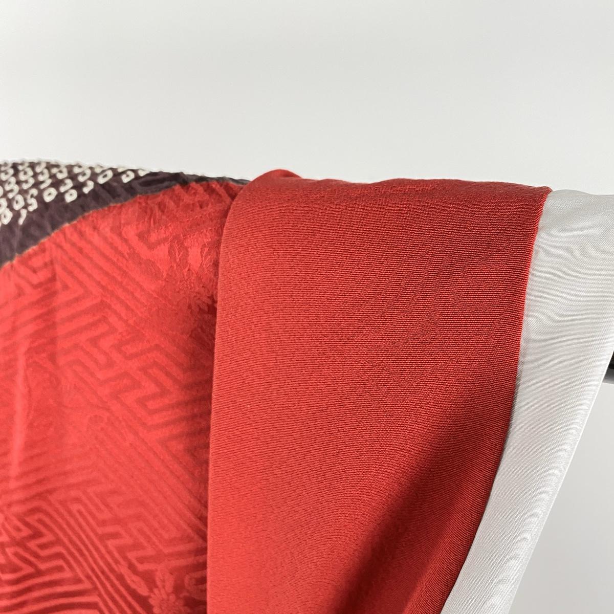 振袖 秀品 袋帯フルセット 花丸文 熨斗 金糸 金銀彩 赤 袷 身丈158cm 裄丈67cm M 正絹Ybvf76gy