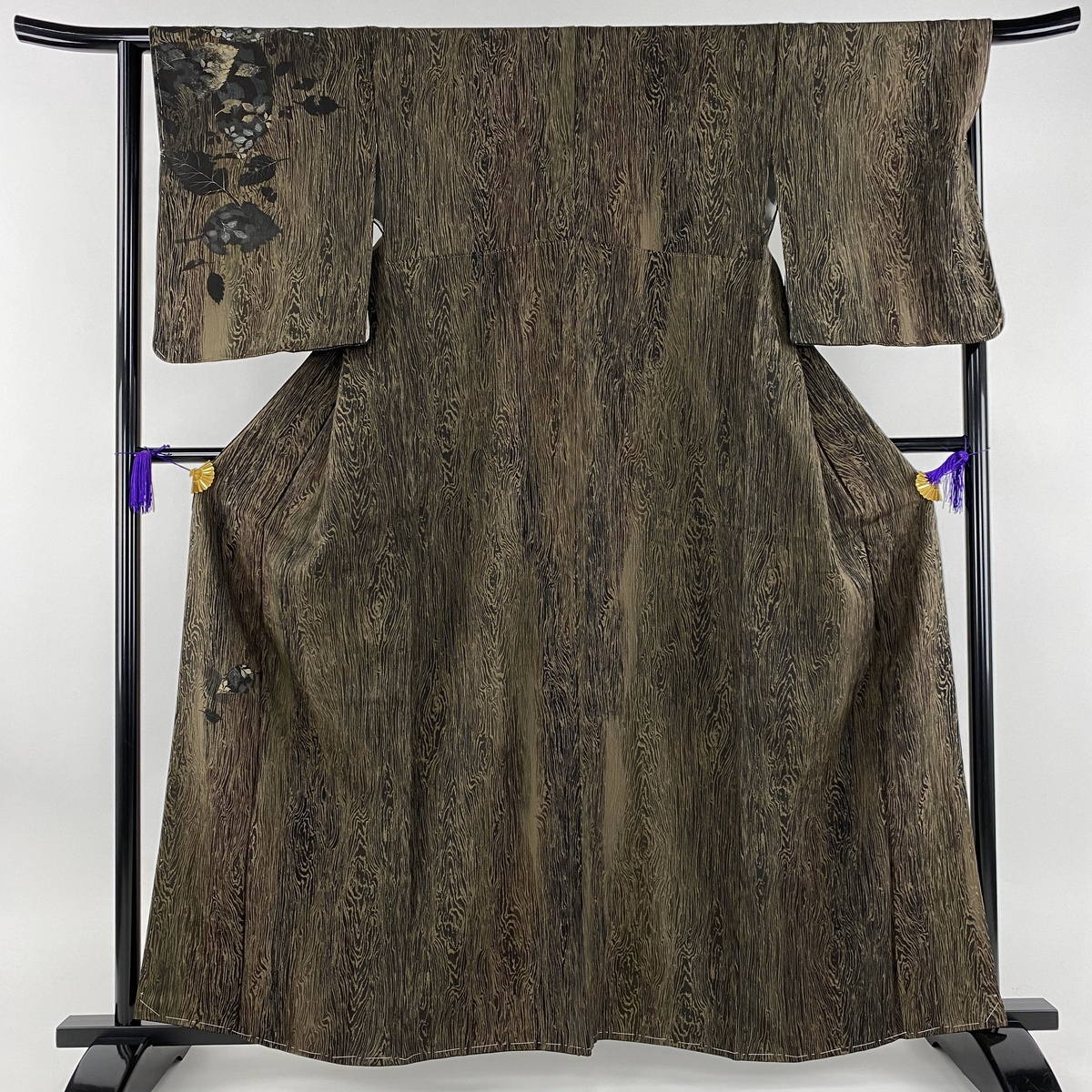 訪問着 美品 名品 深裳織 木目柄 葉柄 金彩 茶緑色 袷 身丈161.5cm 裄丈64.5cm M 正絹 【中古】