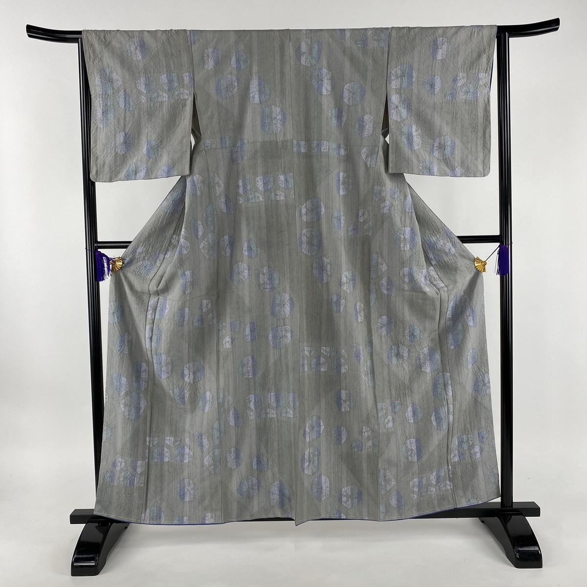 小紋 美品 名品 紬地 幾何学模様 絞り 灰色 袷 身丈161cm 裄丈64cm M 正絹 【中古】