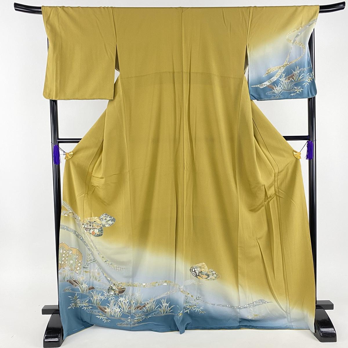訪問着 美品 名品 貝合せ 水辺の風景 金銀彩 螺鈿 黄土色 袷 身丈171cm 裄丈69.5cm L 正絹 【中古】