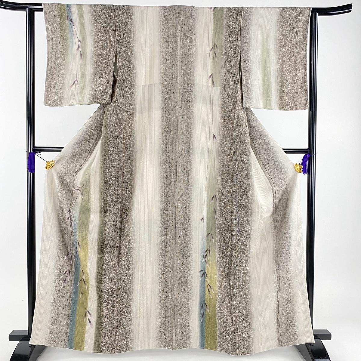 訪問着 美品 名品 やまと 縦縞 葉柄 ぼかし 灰紫 袷 身丈164cm 裄丈62cm S 正絹 【中古】