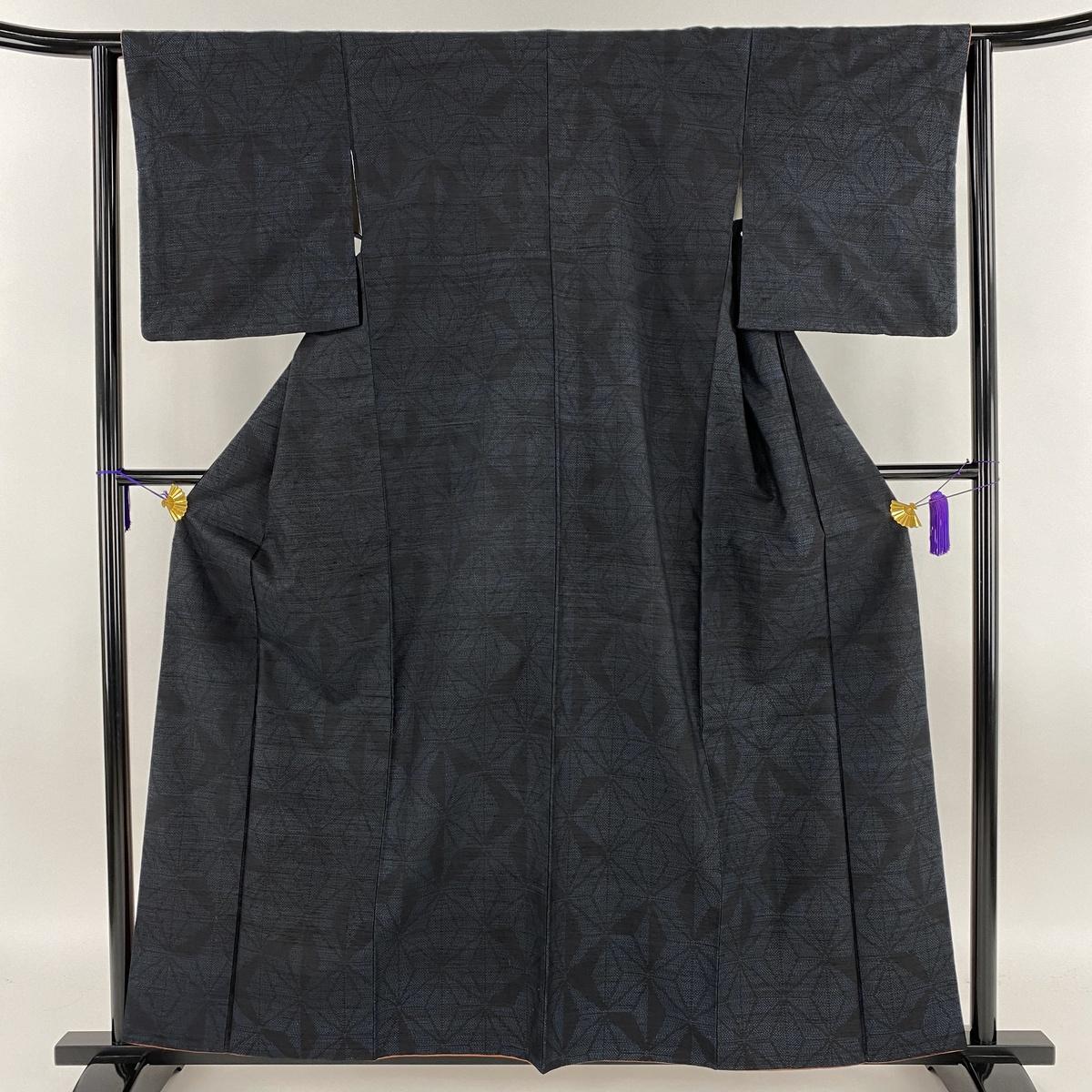 紬 美品 秀品 麻の葉 紺色 袷 身丈160cm 裄丈63cm S 正絹 【中古】