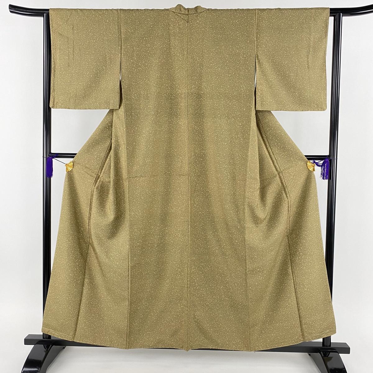小紋 美品 名品 紬地 幾何学 茶緑色 袷 身丈157cm 裄丈63cm S 正絹 【中古】
