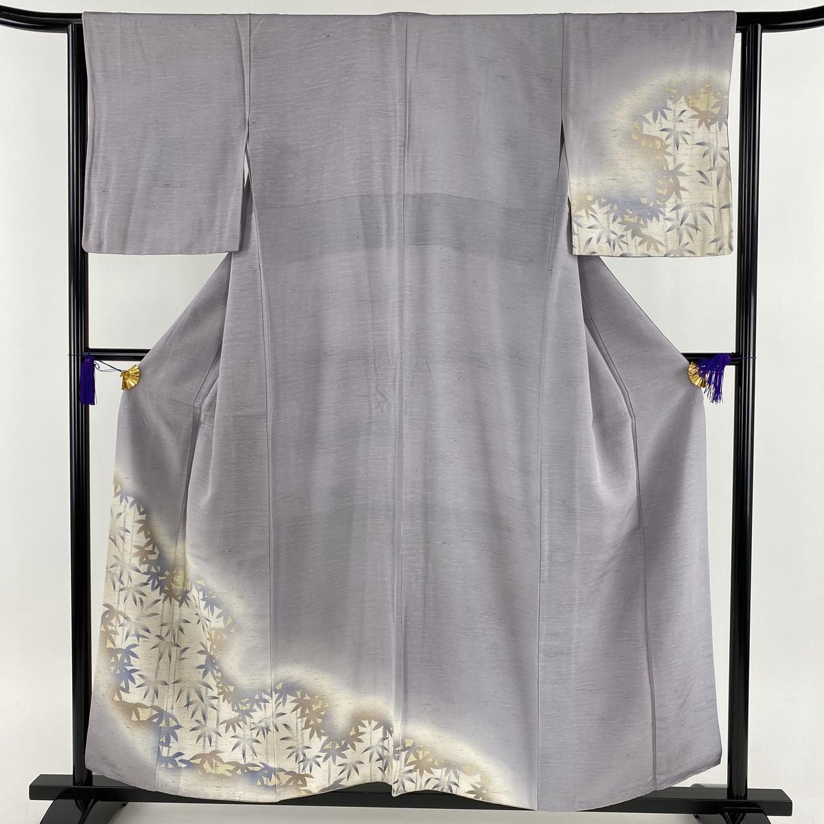 付下げ 名品 ぜんまい紬地 竹 ぼかし 薄紫 袷 身丈153cm 裄丈65cm M 正絹 【中古】