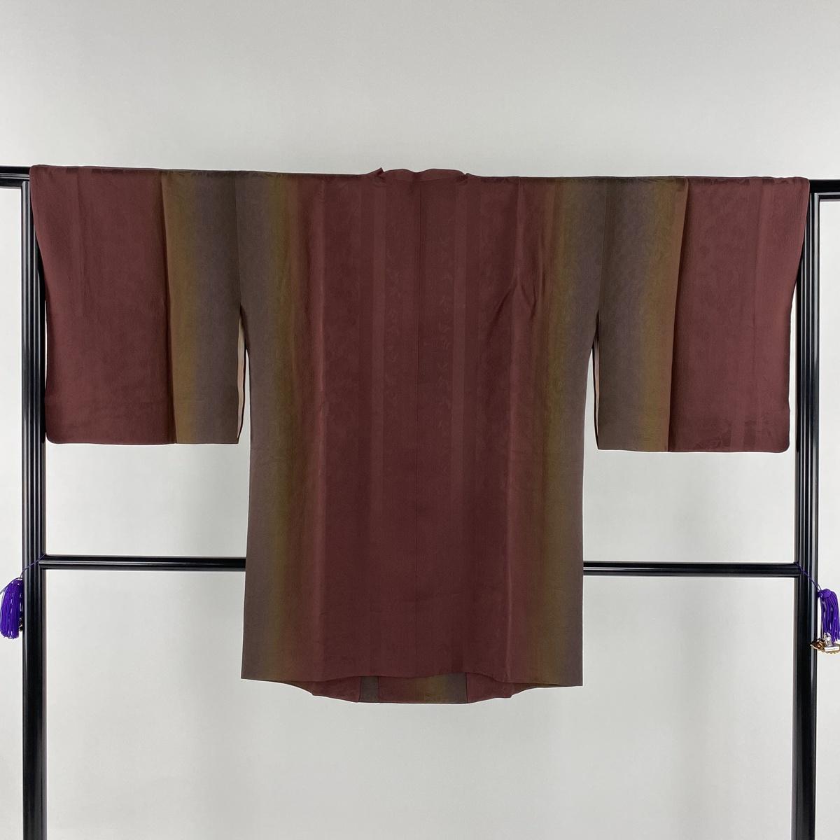 道行 美品 秀品 和装コート やまと 地紋 縦ぼかし えんじ色 身丈85cm 裄丈65.5cm M 正絹 【中古】