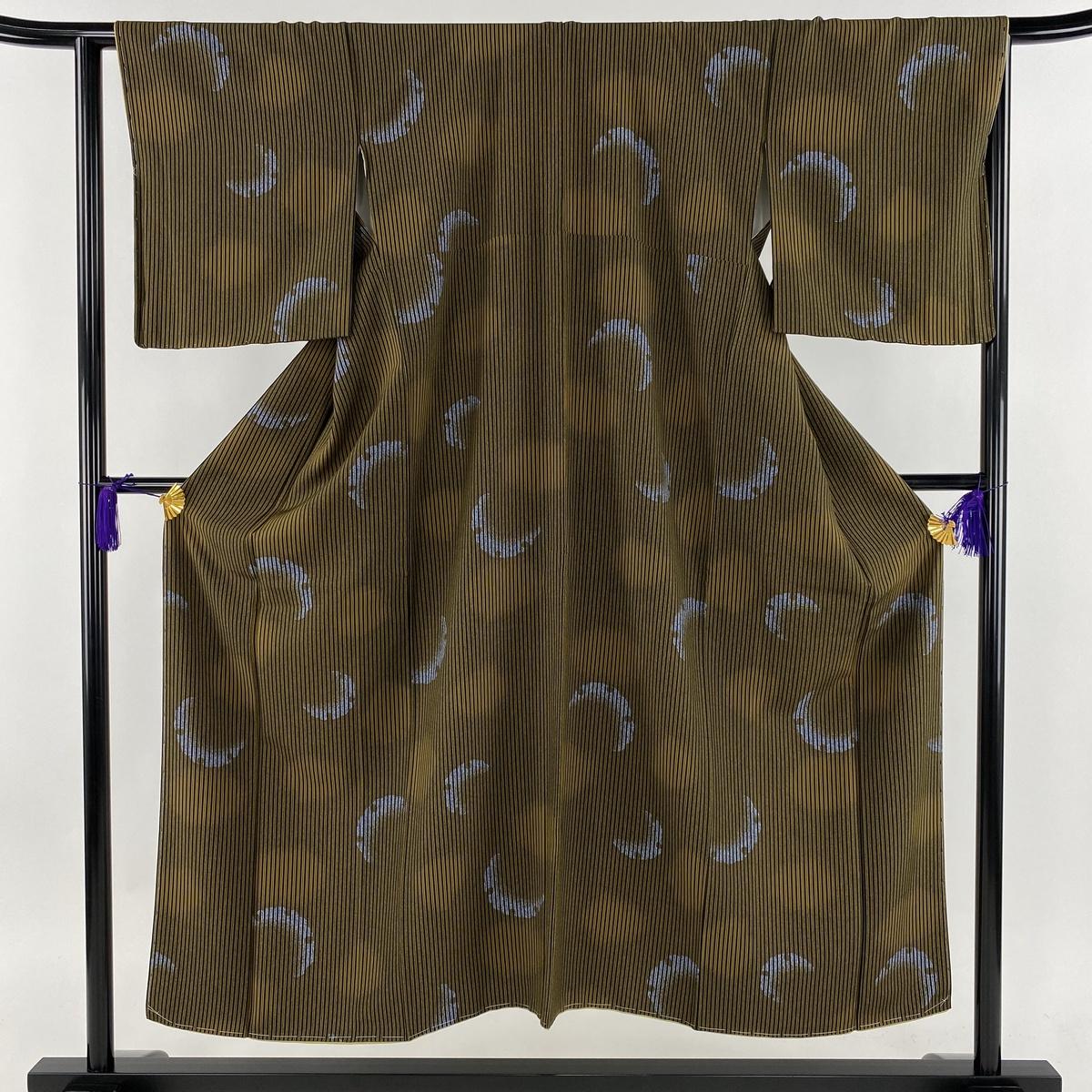 美品 名品 縦縞 雪輪 縮緬 茶緑色 袷 身丈150.5cm 裄丈64.5cm M 正絹 【中古】