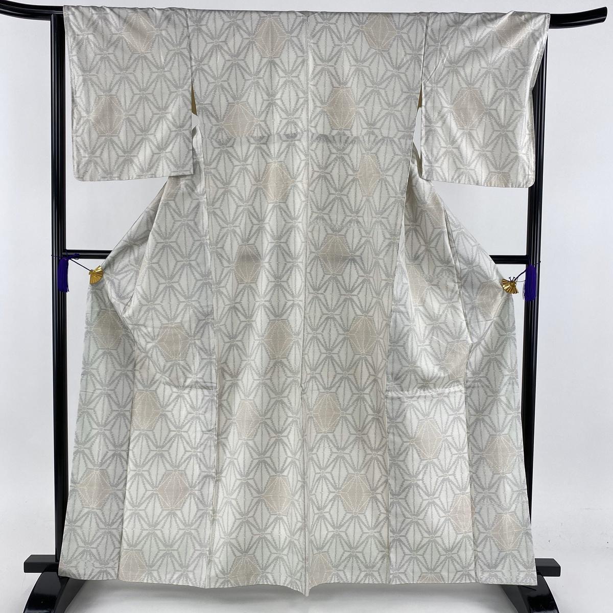 紬 美品 秀品 麻の葉 灰白 袷 身丈164cm 裄丈65cm M 正絹 【中古】