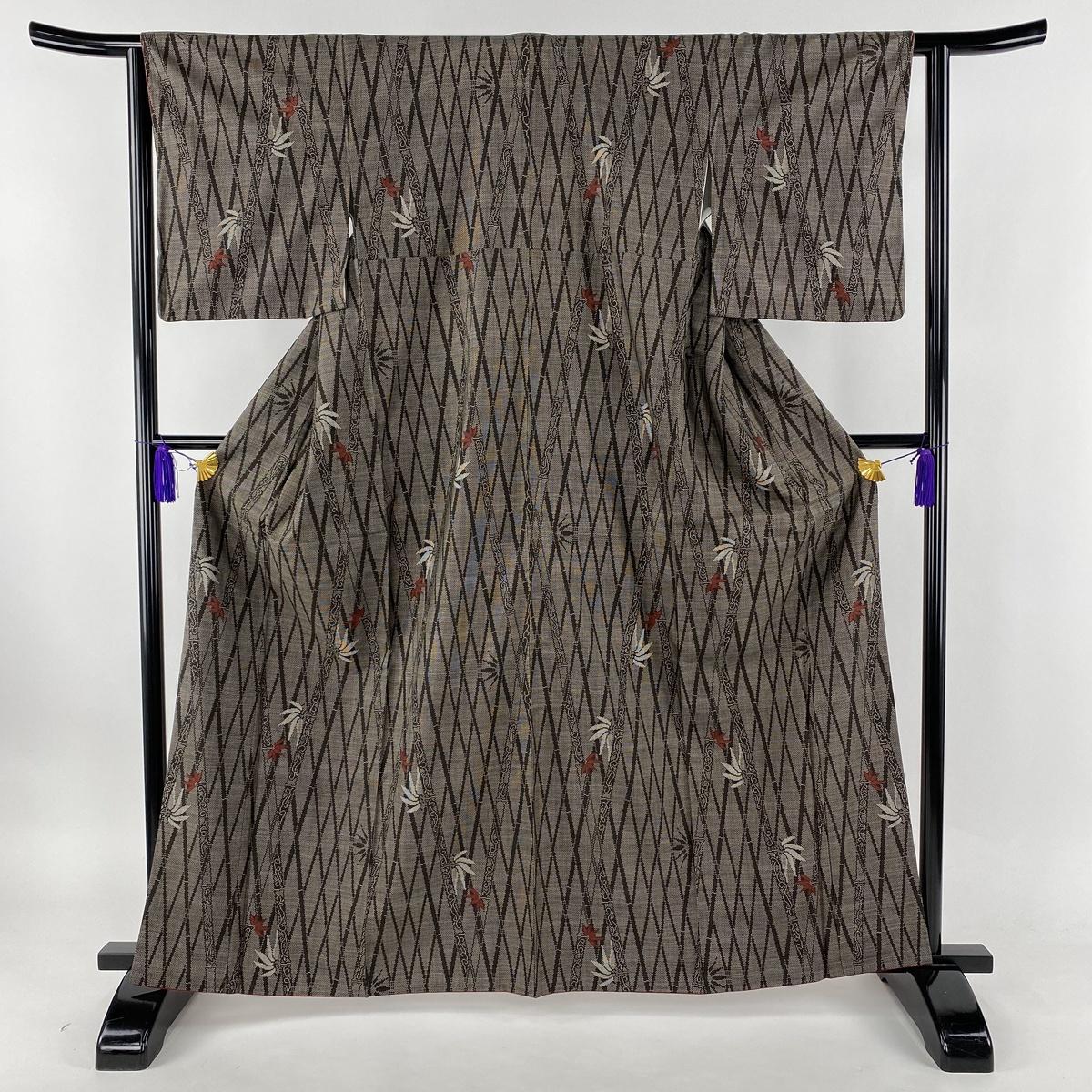 紬 美品 秀品 竹 焦茶色 袷 身丈163.5cm 裄丈63cm S 正絹 【中古】