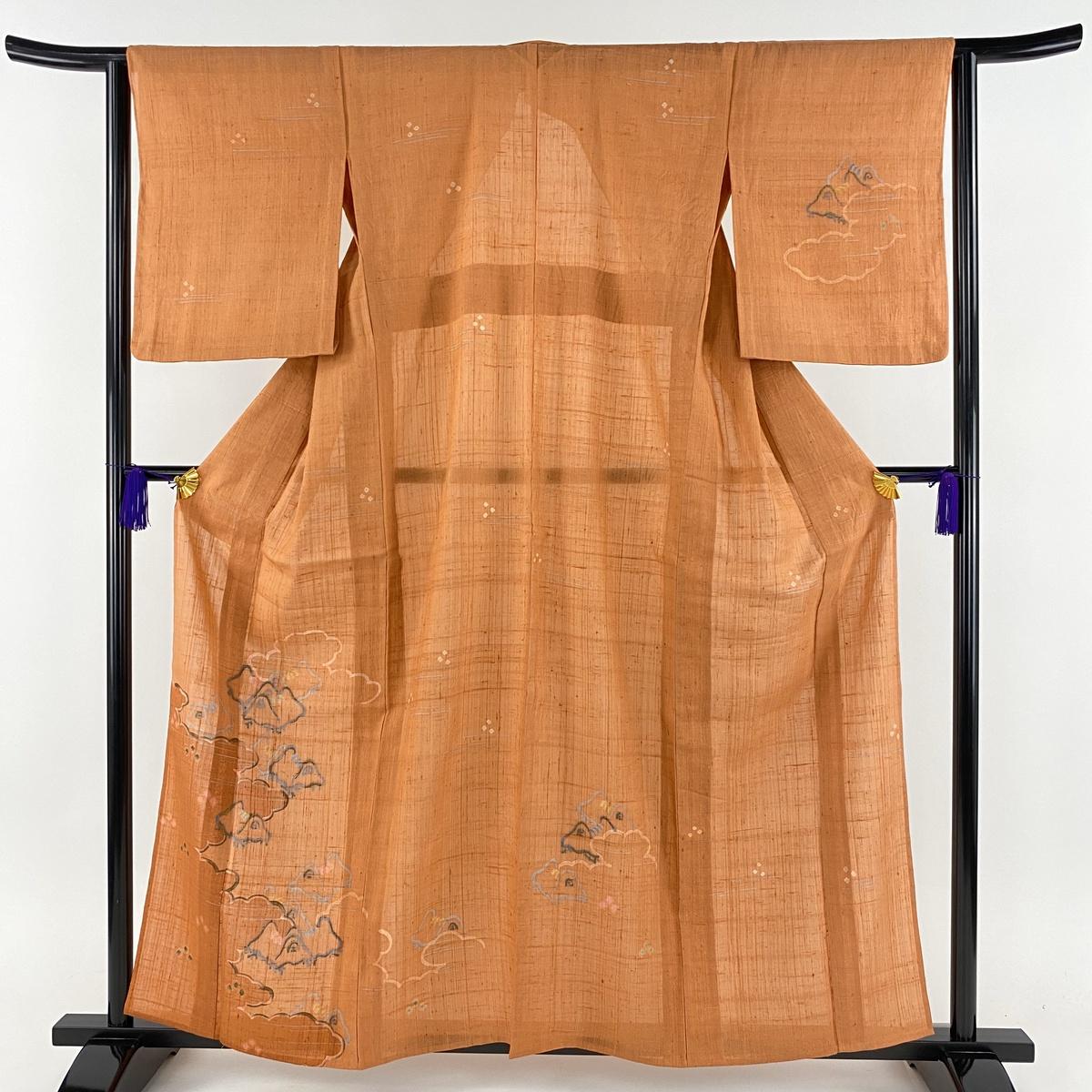 付下げ 美品 名品 紬地 雲文 幾何学 金彩 オレンジ 単衣 身丈160cm 裄丈63.5cm S 正絹 【中古】
