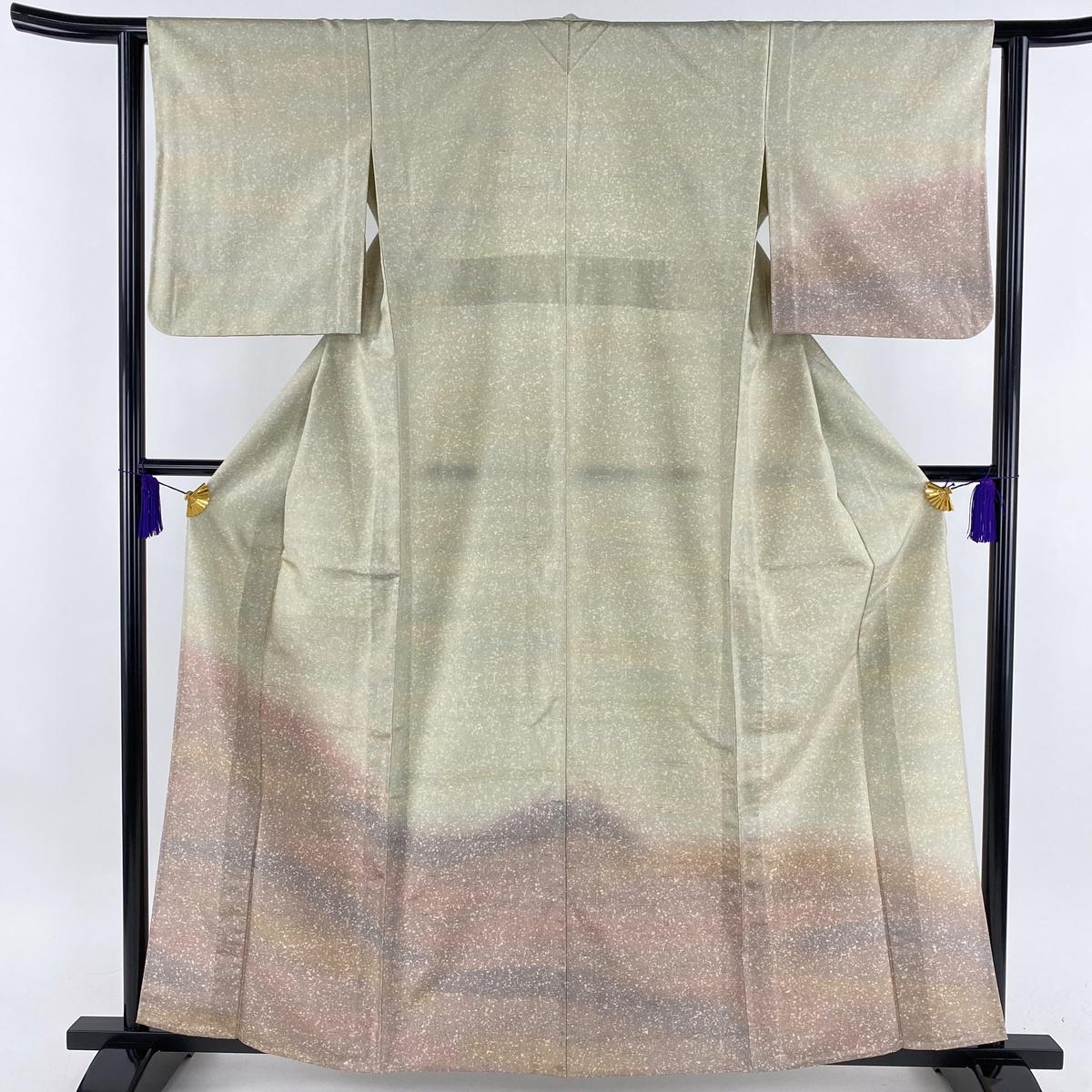 訪問着 美品 名品 紬地 ぼかし 薄緑 単衣 身丈160cm 裄丈62.5cm S 正絹 【中古】