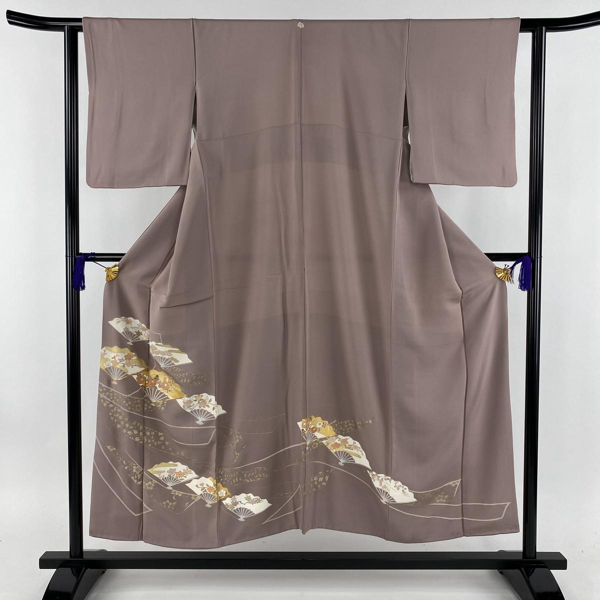 色留袖 美品 名品 一つ紋 扇 草花 金糸 薄紫 袷 身丈151cm 裄丈61cm S 正絹 【中古】