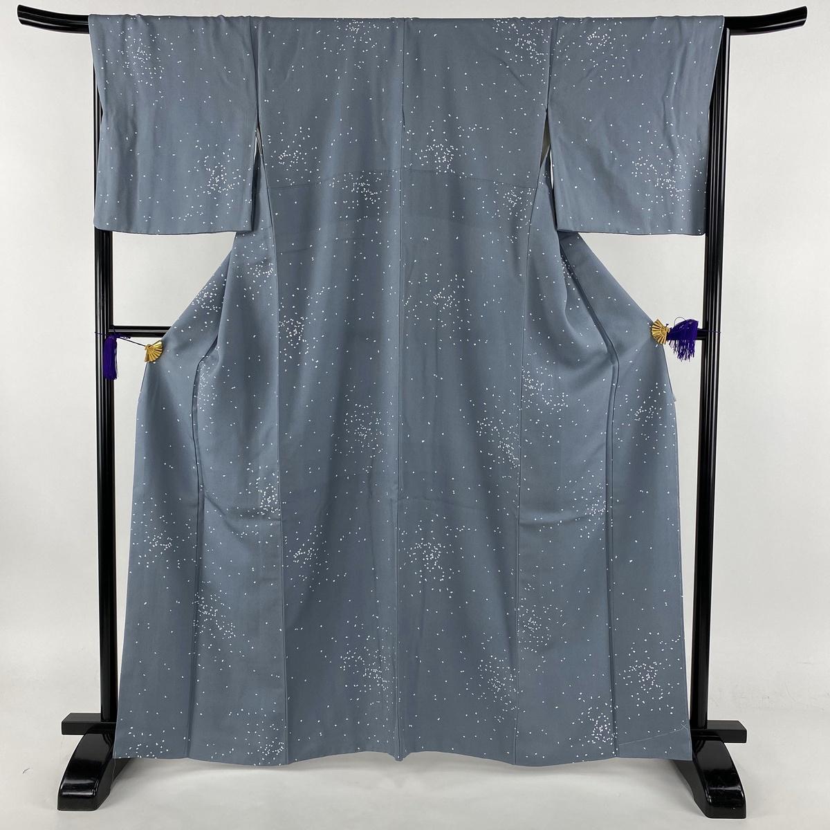 小紋 美品 秀品 幾何学模様 青灰色 袷 身丈164cm 裄丈67.5cm L 正絹 【中古】