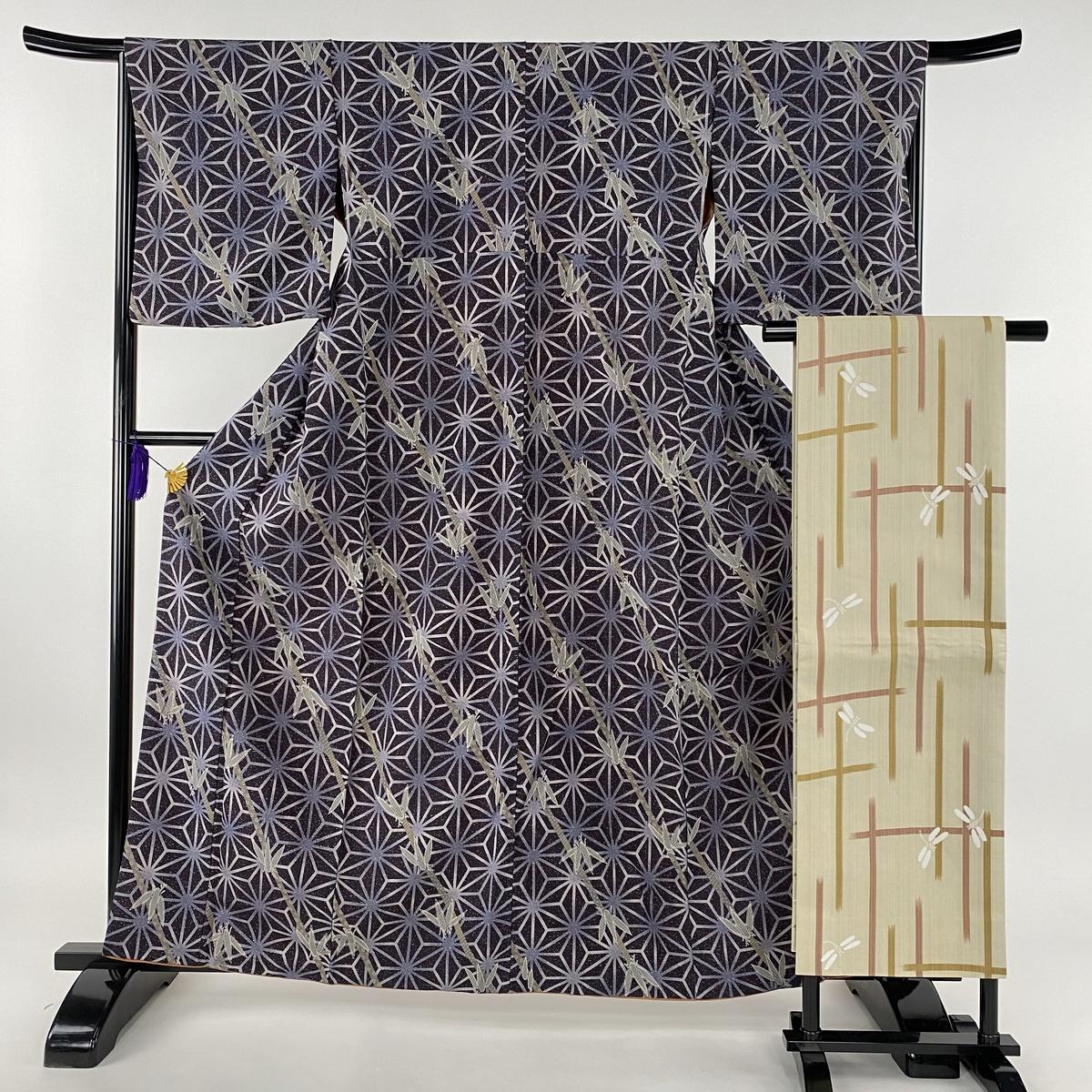 小紋 美品 優品 洗える着物 袋名古屋帯セット 麻の葉 笹 濃紫 袷 身丈162cm 裄丈67cm M 化繊 【中古】
