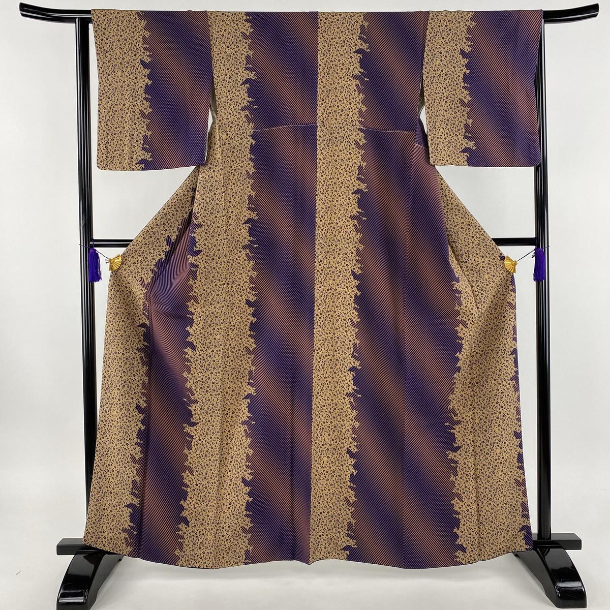 小紋 美品 秀品 桜 斜縞 紫 袷 身丈163cm 裄丈64cm M 正絹 【中古】