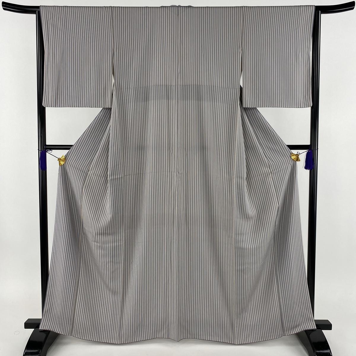 小紋 美品 秀品 縦縞 ストライプ 灰紫 袷 身丈165cm 裄丈64cm M 正絹 【中古】