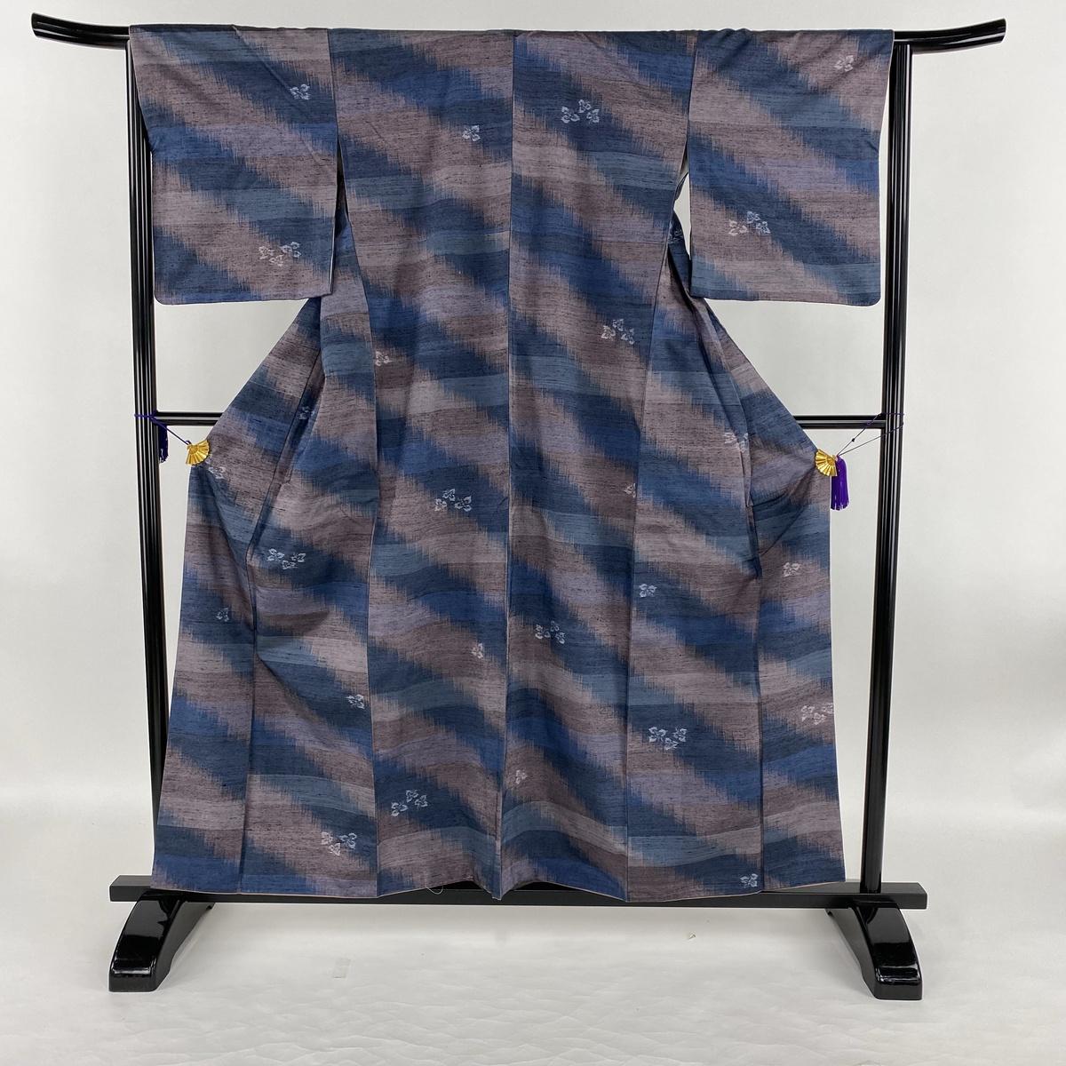 紬 美品 秀品 草花 幾何学模様 紫 袷 身丈158cm 裄丈65cm M 正絹 【中古】