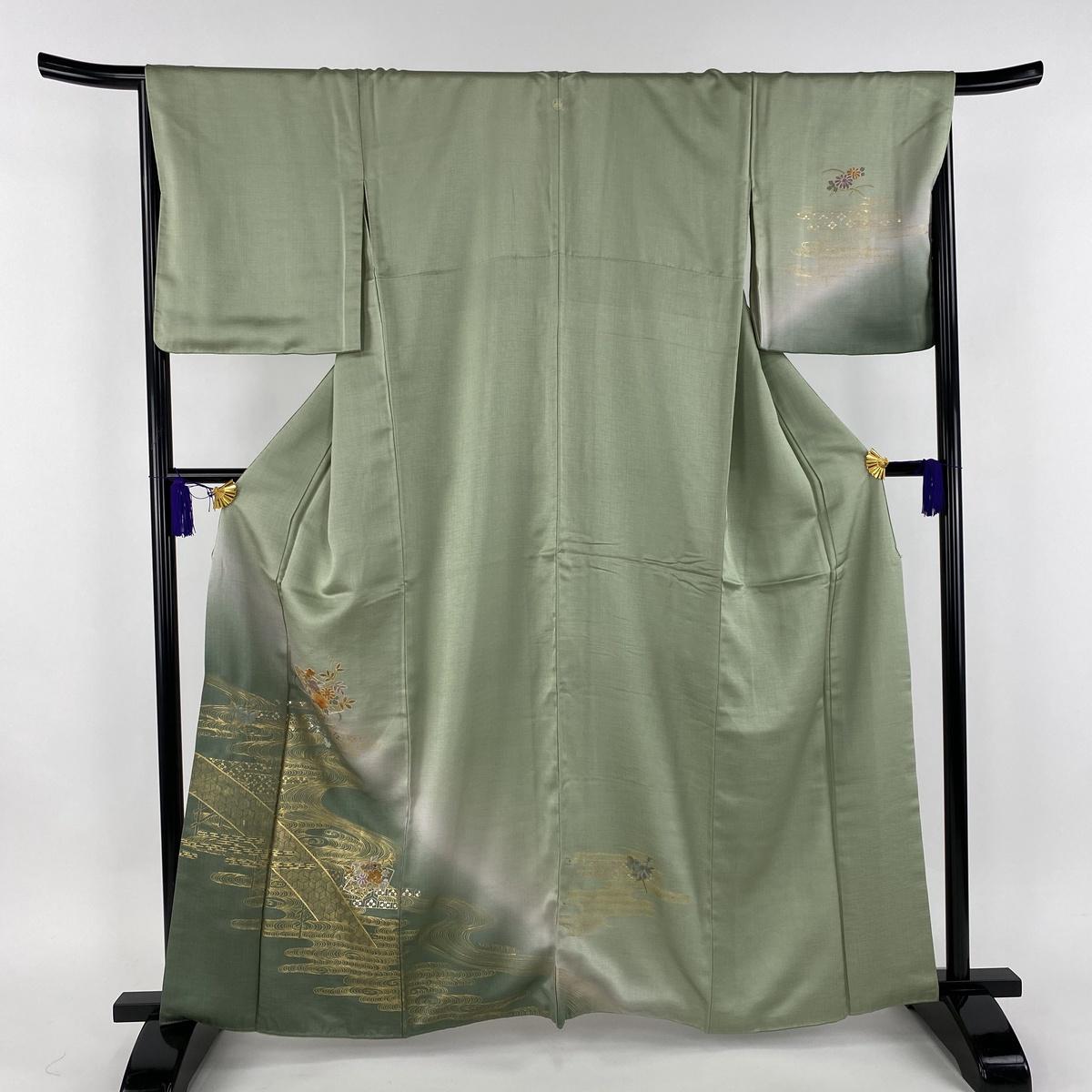 訪問着 美品 秀品 一つ紋 扇面 草花 刺繍 金彩 薄緑 袷 身丈163cm 裄丈67cm M 正絹 【中古】