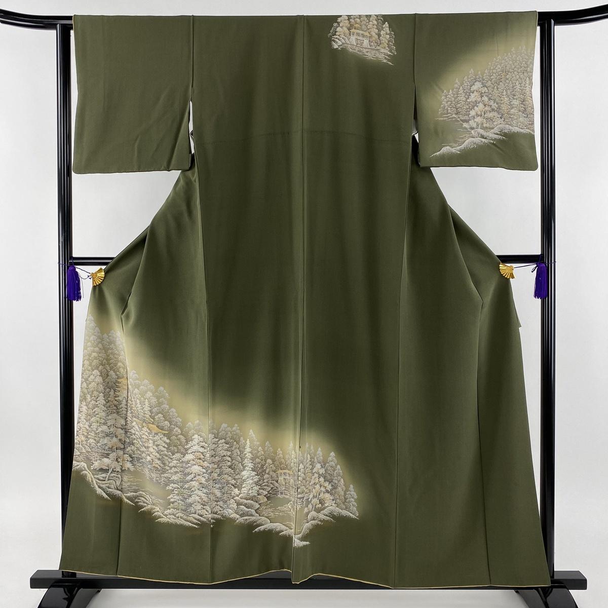 訪問着 秀品 水辺の風景 建物 金彩 縮緬 茶緑色 袷 身丈156cm 裄丈63cm S 正絹 【中古】