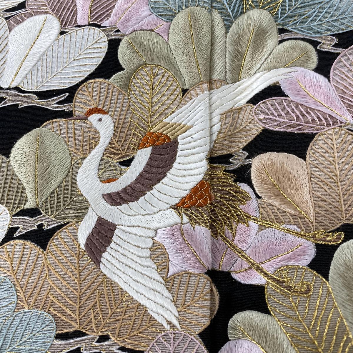 黒留袖 美品 逸品 鶴 松 刺繍 金糸 黒 袷 身丈161cm 裄丈65cm M 正絹hCstQdr