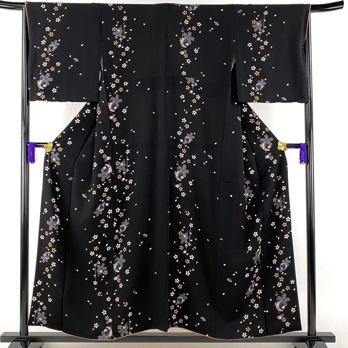 小紋 名品 桜 髪飾り 黒 袷 身丈155cm 裄丈66cm M 正絹 【中古】