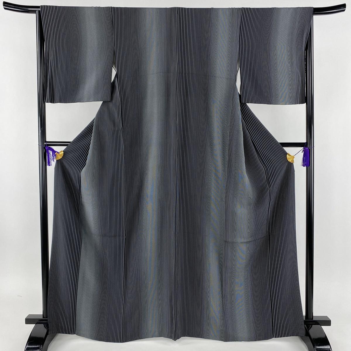 小紋 美品 名品 縞模様 黒 袷 身丈166.5cm 裄丈66.5cm M 正絹 【中古】