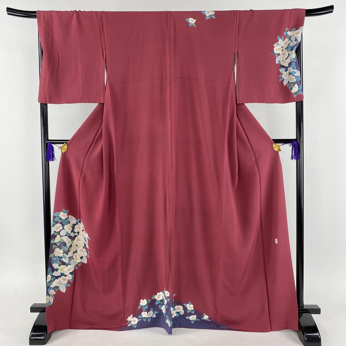 訪問着 秀品 落款あり 草花 染め分け 赤紫 袷 身丈168cm 裄丈69cm L 正絹 【中古】