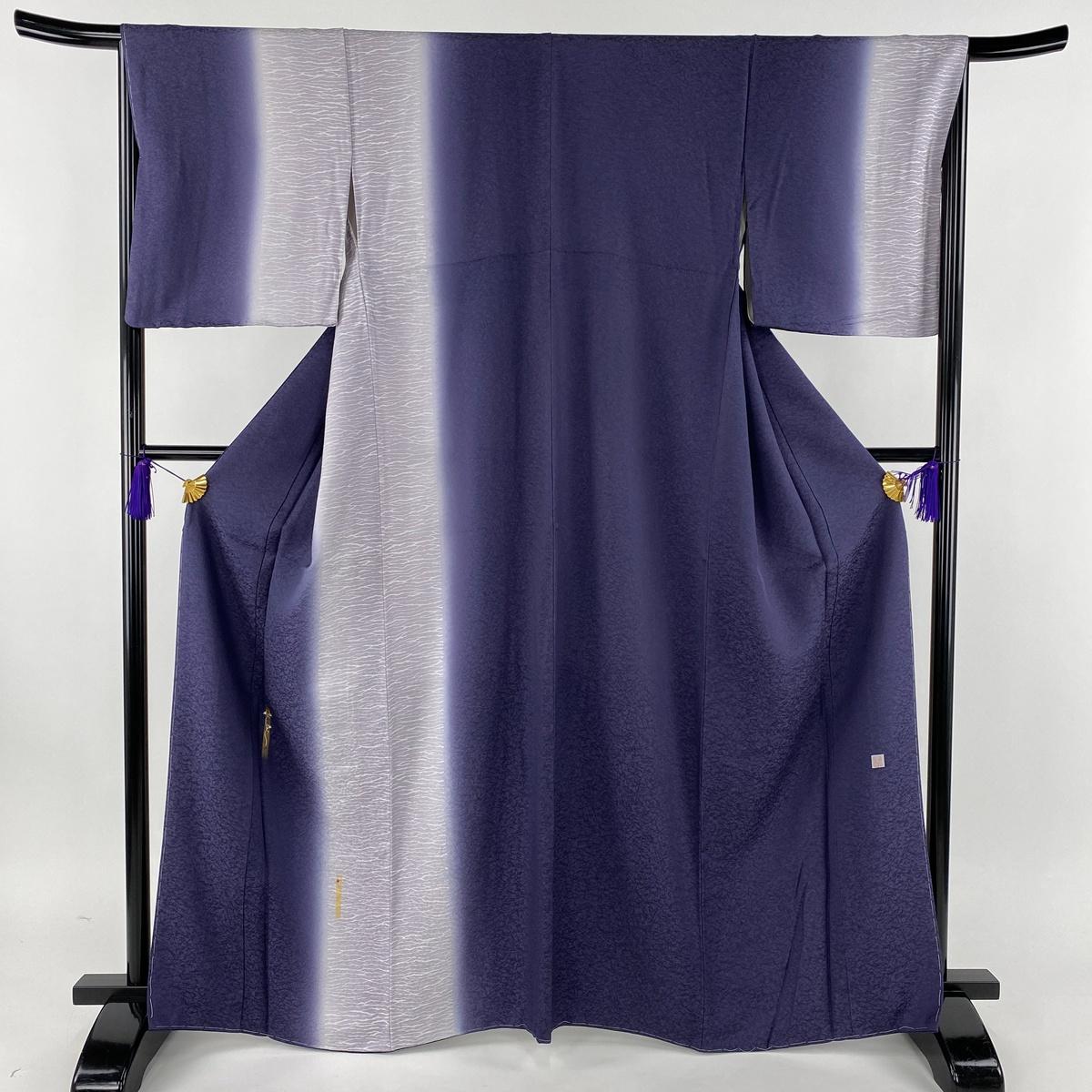付下げ 美品 名品 落款あり 草花 刺繍 金糸 紫 袷 身丈166cm 裄丈66cm M 正絹 【中古】