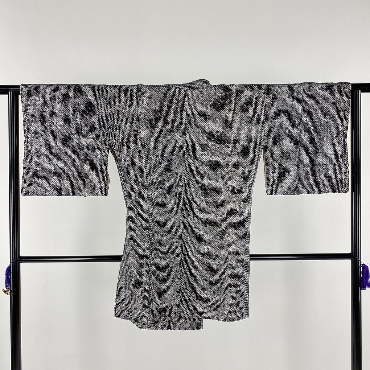 道中着 美品 名品 和装コート やまと 総絞り 黒 身丈91cm 裄丈63cm S 正絹 【中古】