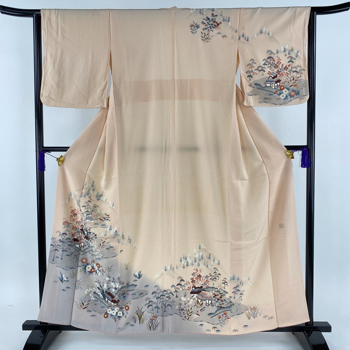 訪問着 美品 秀品 風景 草花 ぼかし 金彩 ピンク 袷 身丈158.5cm 裄丈63cm S 正絹 【中古】