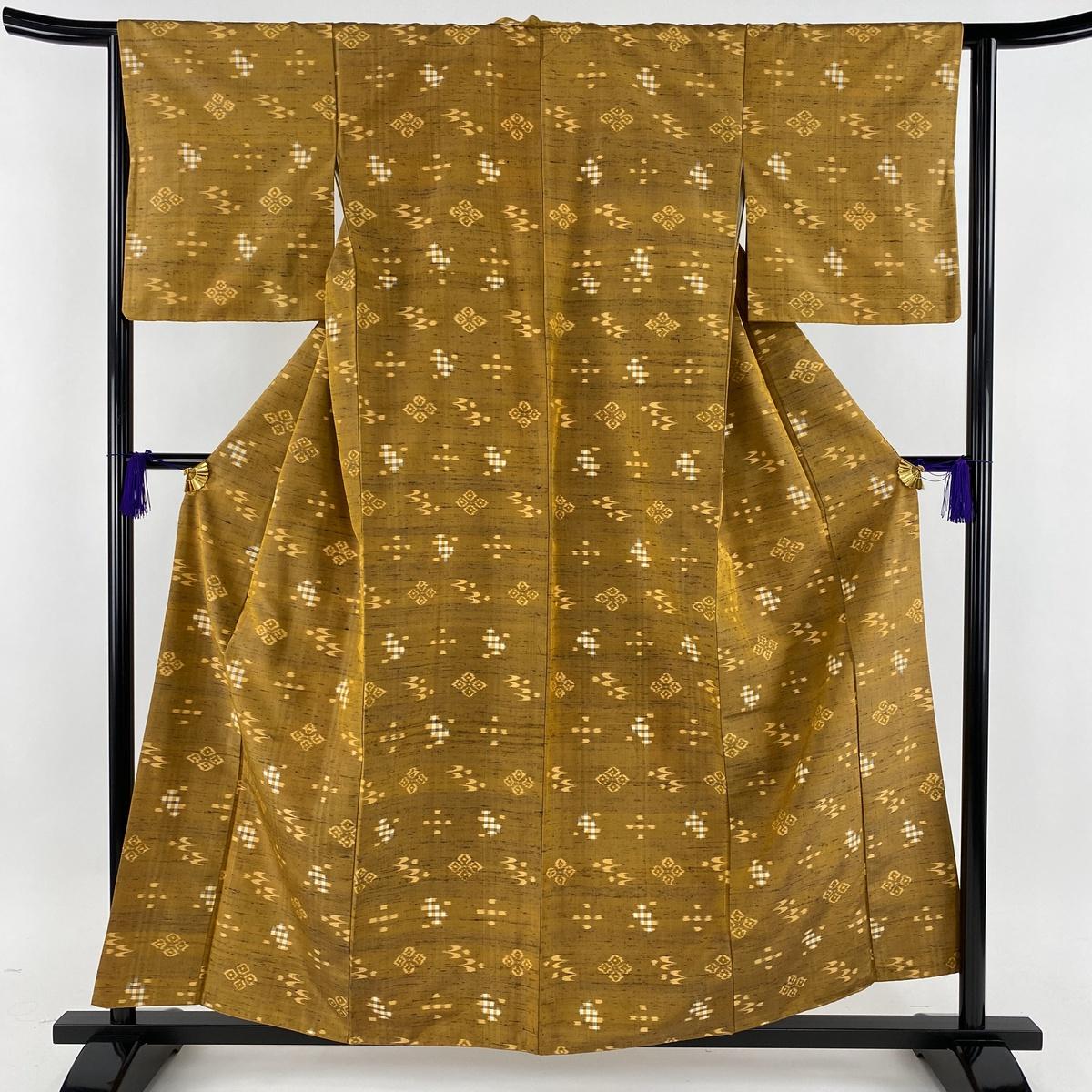 紬 美品 秀品 燕 絣 山吹茶色 袷 身丈158cm 裄丈63.5cm S 正絹 【中古】