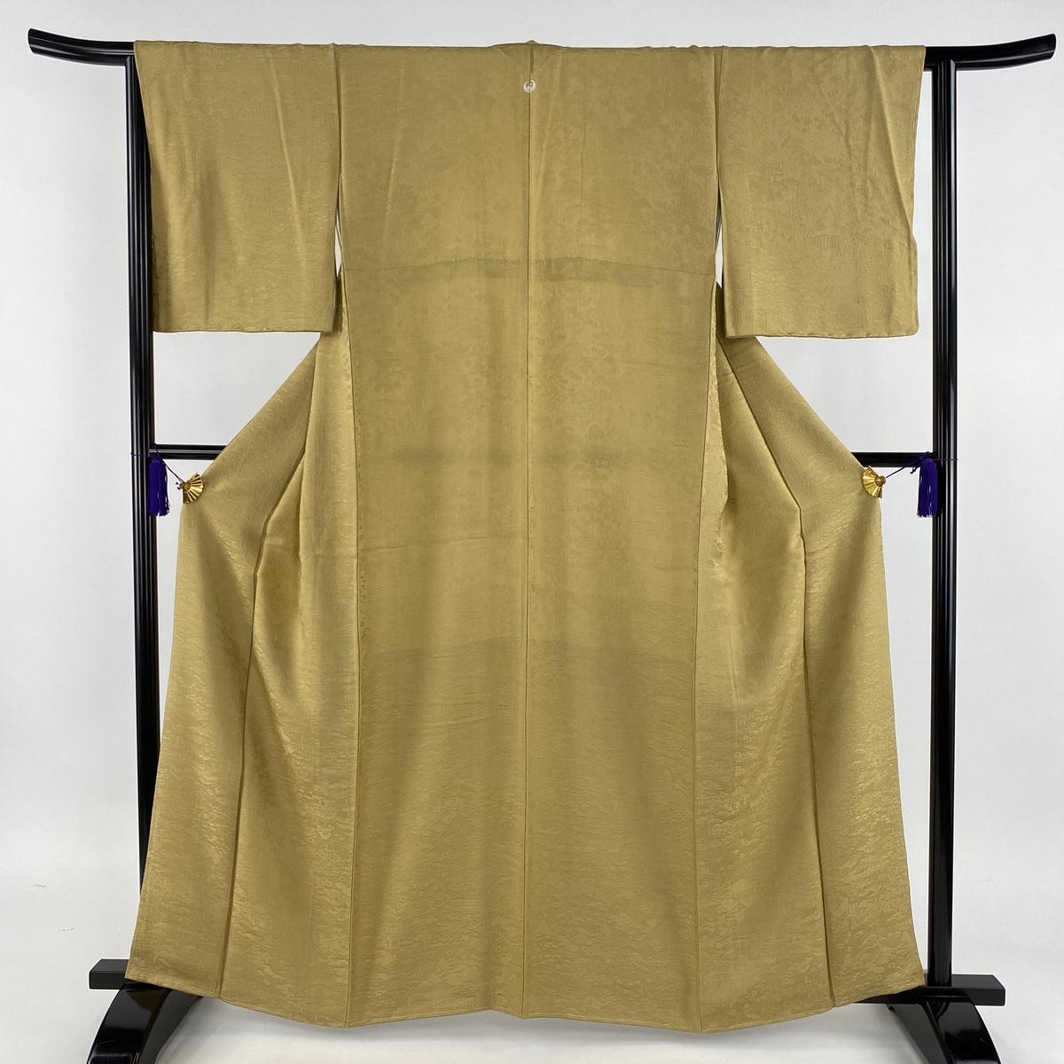 色無地 美品 秀品 一つ紋 地紋 黄土色 袷 身丈162.5cm 裄丈64cm M 正絹 【中古】