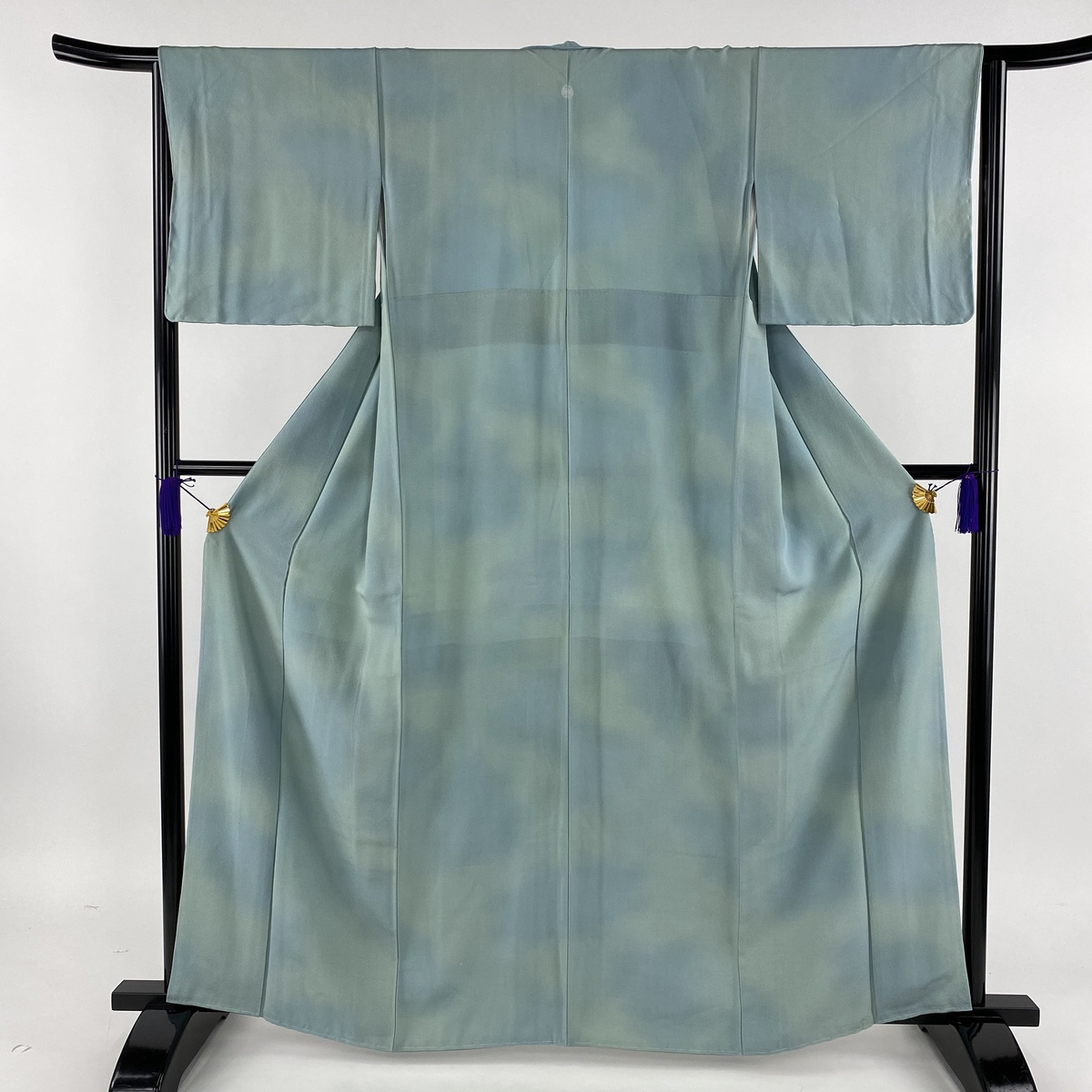 小紋 美品 秀品 一つ紋 ぼかし 薄緑 袷 身丈163.5cm 裄丈64.5cm M 正絹 【中古】