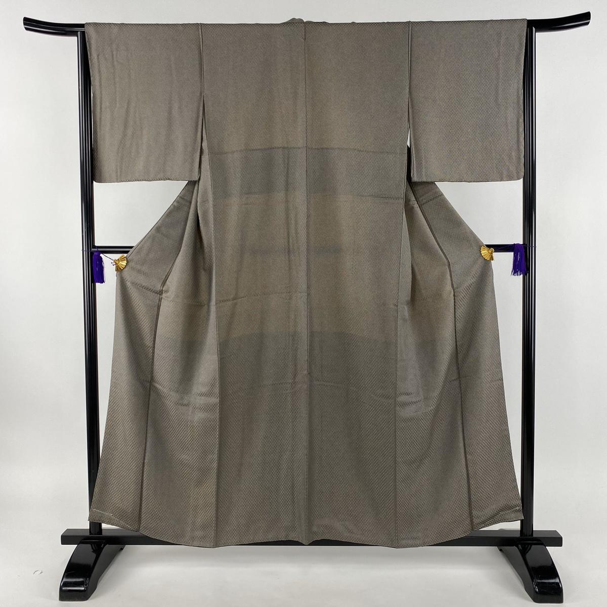 江戸小紋 美品 秀品 鮫 焦茶色 袷 身丈157cm 裄丈64.5cm M 正絹 【中古】